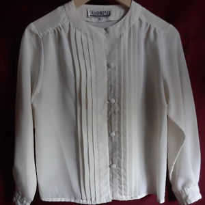 Vintage White Button Up Pleated Blouse